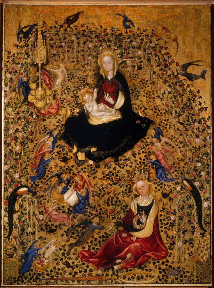 Artwork of the day : The above painting,The Madonna of the Rose Garden (Italian: Madonna del Roseto) is an International Gothic painting attributed to Michelino da Besozzo or Stefano da Verona. Dating to c. 1420–1435, it is currently housed in the Castelvecchio Museum of Verona, northern Italy. The painting shows the traditional theme of the Madonna with Child within an enclosure of roses, a hortus conclusus, symbol of her alleged virginity, in the presence of St. Catherine of Alexandria.