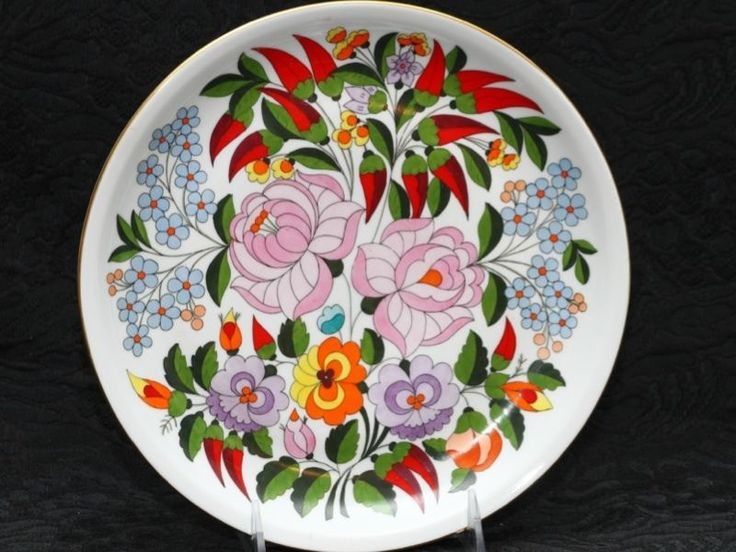 KALOCSA HUNGARIAN Folk Hand Painted Porcelain Wall Plate