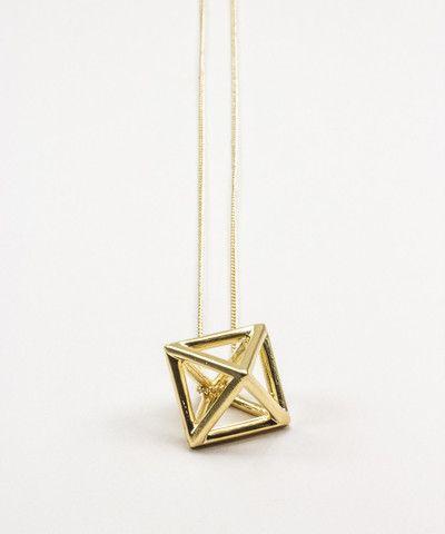 Gold Hollow Octahedron Pendant Necklace. $ 35.00