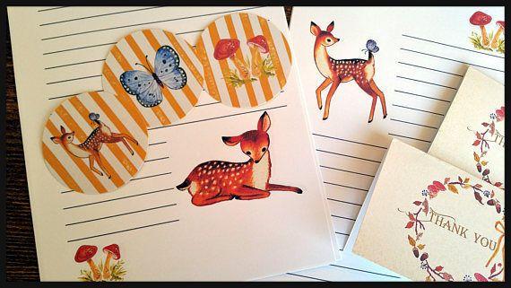 Retro Vintage Stationery Set Woodland Animal,Vintage Deer Writing Stationery