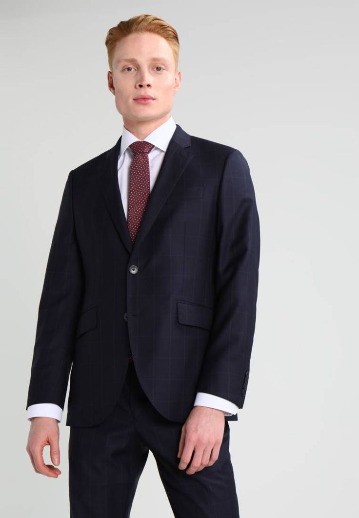 """Hackett London. MAYFAIR - Suit - blau. Outer fabric material:100% wool. Pattern:Checked. Care instructions:Dry clean only. Sleeve length:short,25.0 """" (Size 40R). Back width:19.5 """" (Size 40R). jacket length:30.0 """" (Size 50). outer leg le..."""