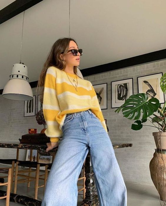 Inspiring Street Style Color Block Sweaters For Women 2019 In 2020 Aesthetic Clothes Vintage Outfits Aesthetic Fashion