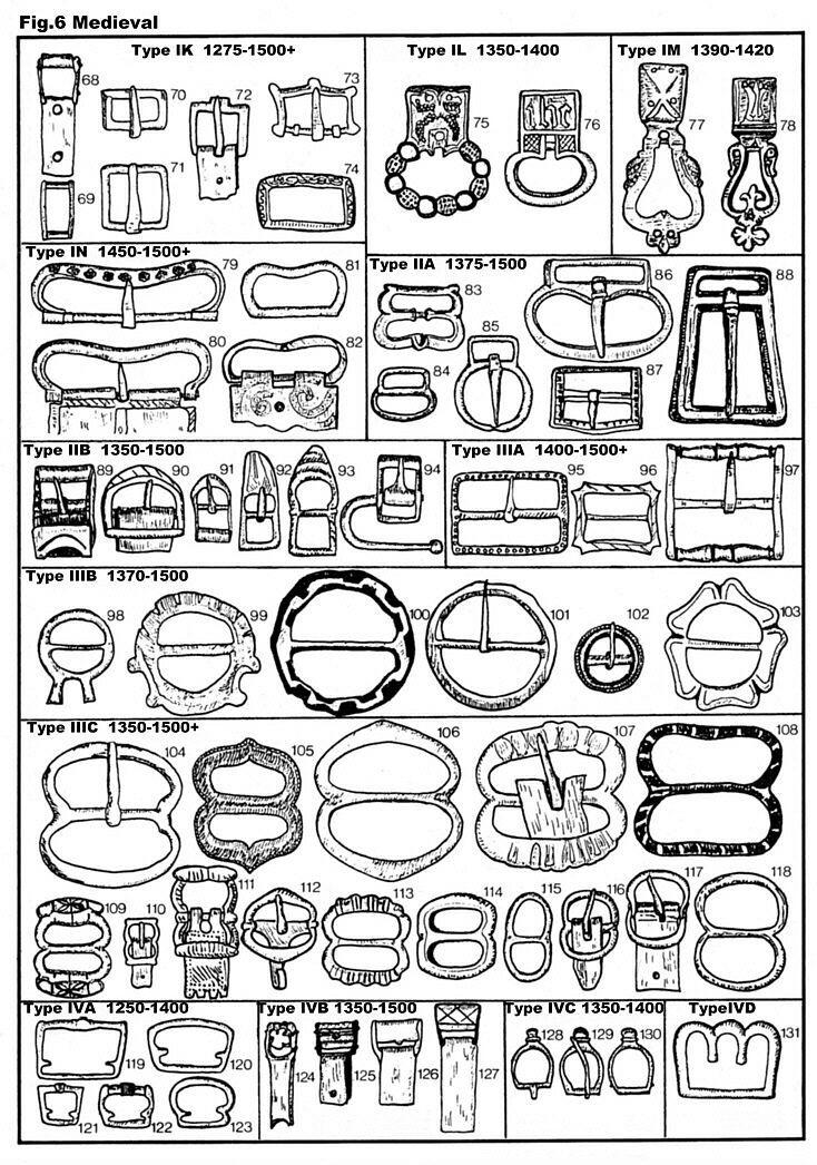 Medieval belt buckles, 105,106, 112