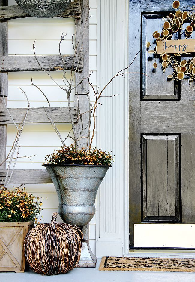 Beautiful fall topiaries with flowers and twigs from /thistlewoodfarm/