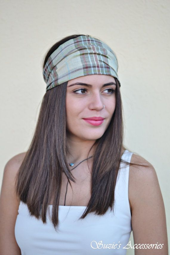 Linen Headband Plaid Headband Bohemian by SuzannasAccessories
