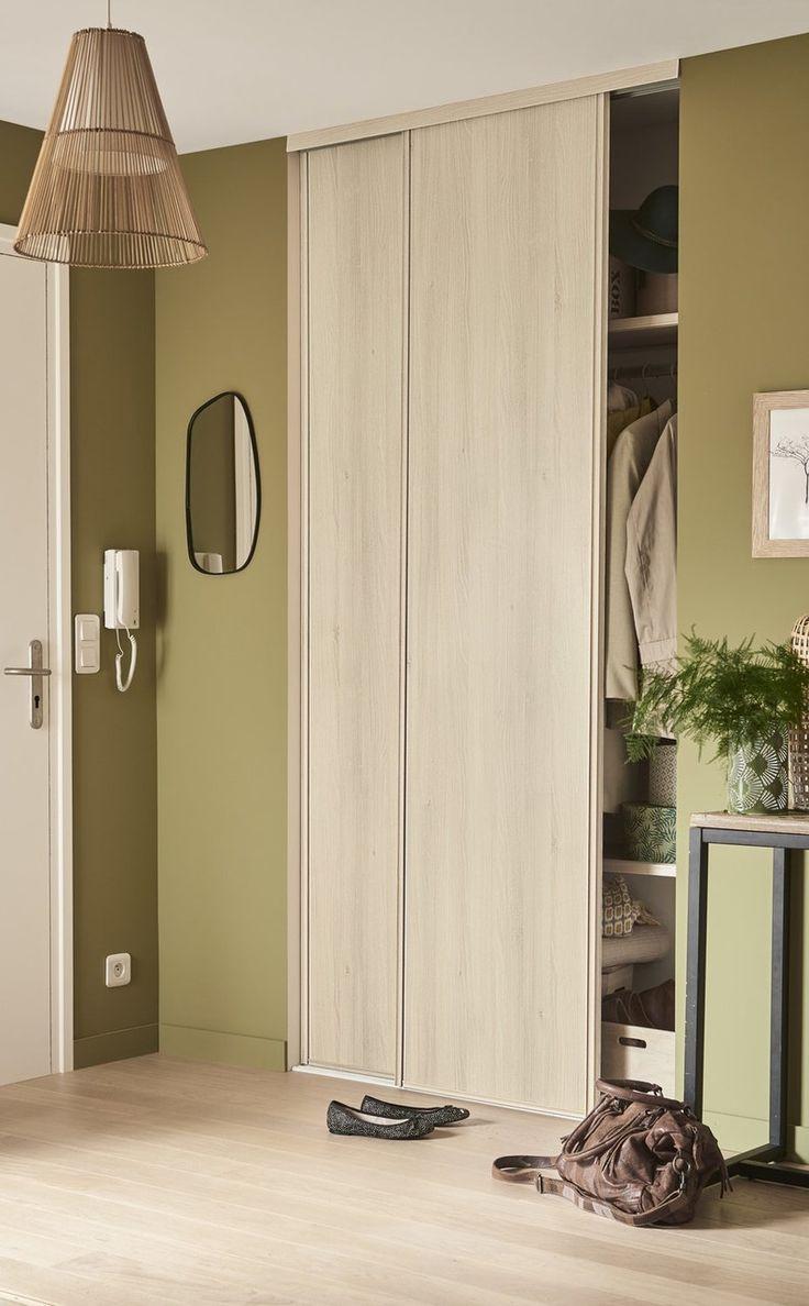 portes de placard coulissantes en chêne verni  leroy