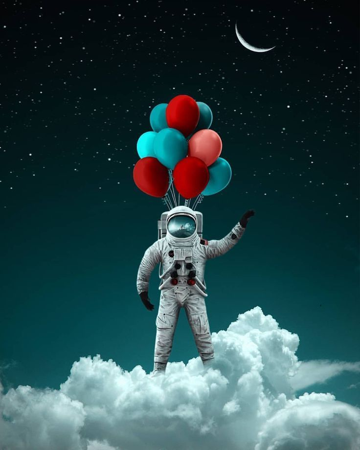 Creative Image Of An Astronaut Floating To Space With Balloons Arte Espacial Ilustracion Del Espacio Arte De Galaxia