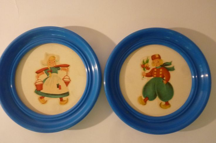 Midcentury Framed Art Set of 2 Dutch Girl and Dutch Boy Traditional Costumes Peacock Blue Round Plastic Frames 50's Department Store Art by ZoomVintage on Etsy