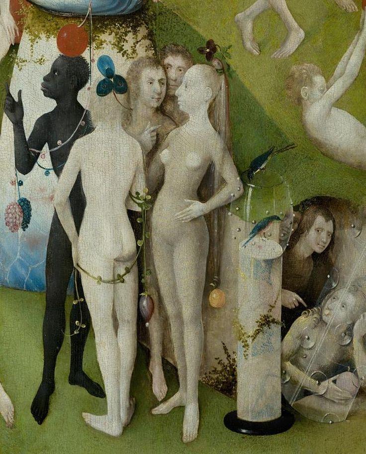 EL JARDIN DE LAS DELICIAS Hieronymus Bosch (EL BOSCO). Eva escondida en una cueva y señalada por Juan el Bautista como culpable.