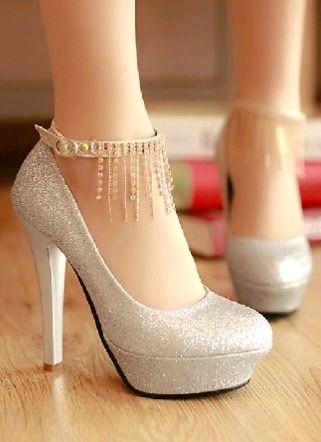 Rhinestone silver high heel shoes