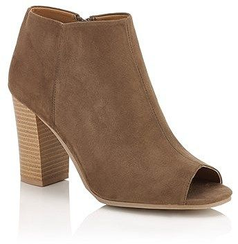 Womens khaki brown qupid peep toe boots from Lipsy - £40 at ClothingByColour.com