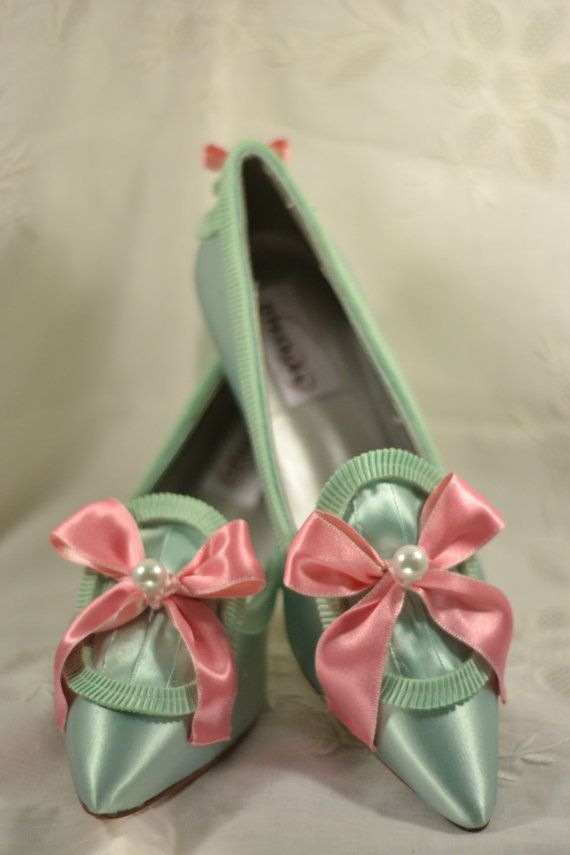 Marie Antoinette Pink and Mint Heels via Etsy