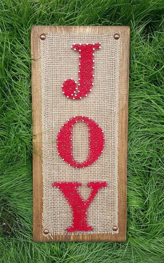 """Christmas """"JOY"""" String Art Sign, Red and Brown Burlap Holiday Decor, Rustic Farmhouse Style Christmas Wall Hanging"""