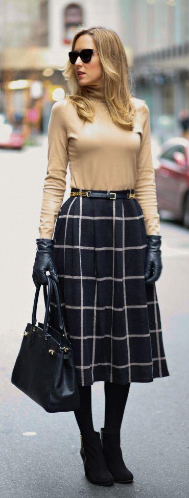 The Classy Cubicle: Classic Crisscross {asos, banana republic, ann taylor, henri bendel, windowpane, full skirt, camel turtleneck, tote, work wear}