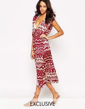 Somedays Lovin - Marsala - Maxi robe de plage à imprimé aztèque