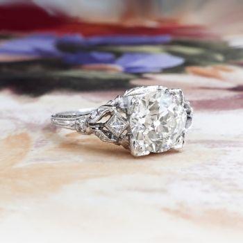Edwardian 1.82ct t.w. Diamond Engagement Ring Circa 1920's Old European Cut Diamond French Cut Hand Engraved Platinum Ring