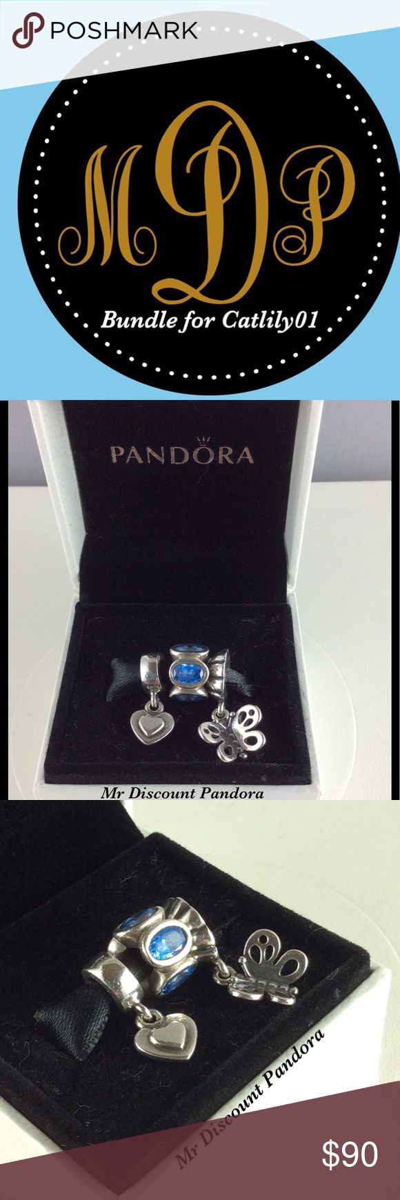 Pandora bundle for @catlily01 ($67) 1-100% Authentic Pandora Retired Dangle Heart Charm #790374  Signature markings ALE S925  Condition: Excellent   1-100% Authentic Pandora 1/2 Best Friend Butterfly Charm #790531  Signature markings ALE S925  Condition: Excellent   1-100% Authentic Pandora Blue Oval Lights Charm #790311CZB  Signature markings ALE S925  Condition: Good,stones show some scratches and cloudiness from normal wear and tear. See last photos (SOLD AS IS)  🔵PRICE IS FIRM ⚫️NOT…