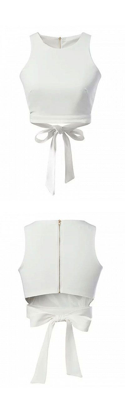 white plain bondage crop vest -we can add a coat or kimono over it and wear shorts or short skirt in the bottom