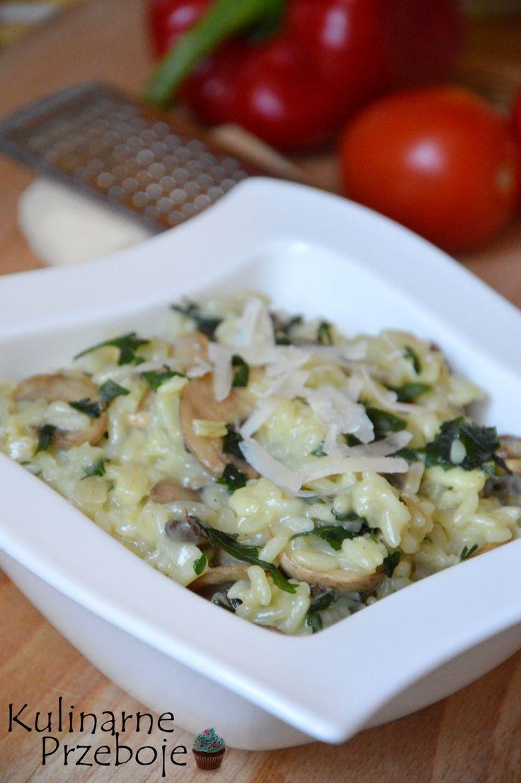 Risotto z pieczarkami, ryż z pieczarkami, kremowe risotto z pieczarkami, kremowy ryż z pieczarkami, ryż, kremowy ryż, danie z ryżem, obiad z ryżem.