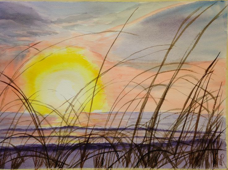 """This is, """"Seascape and Sun,"""" watercolor  Adapted from a friend's photo, with permission  On 10""""x14"""" Arches cold press 140 lb paper - (c) 2016 Wes Rehberg"""