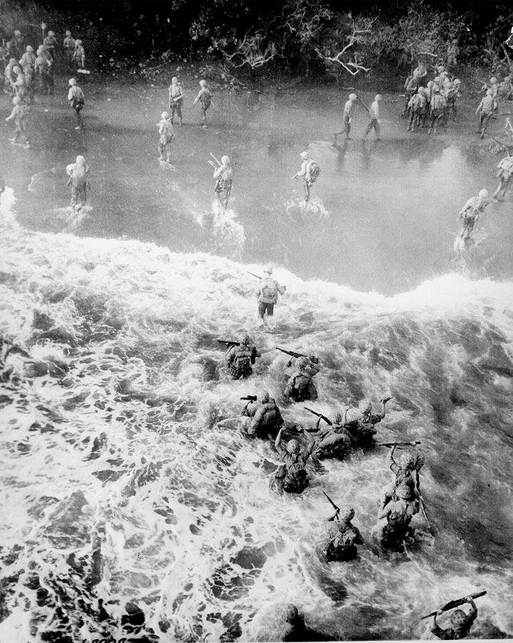 Marines disembark LST at Tinian Island