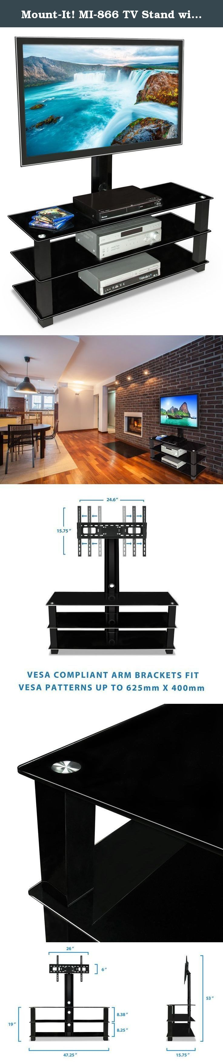 Mount-It! MI-866 TV Stand with Mount, Entertainment Center for Flat Screen TVs Between 32 to 60 Inch, 3 Tempered Glass Shelves and Powder Coated Aluminum Columns, VESA Compatible TV Mount, Black. Mount-It! MI-866 contemporary TV mount and media component stand combo features three beautiful black silk tempered glass shelves with spacious shelving for all of your surround sound system components, Blu-ray player, game consoles, cable box and place other media components. The built-in TV…