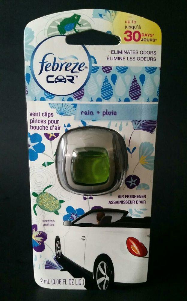 Febreze Car Vent Clips Rain Scent Lot of 6 New 2 mL Air Fresheners #Febreze