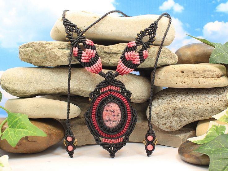 Rhodonite Venus Necklace - handcrafted pink and black macrame gemstone adjustable necklace | choker by Mundial Treasures by MundialTreasures on Etsy https://www.etsy.com/listing/230434506/rhodonite-venus-necklace-handcrafted