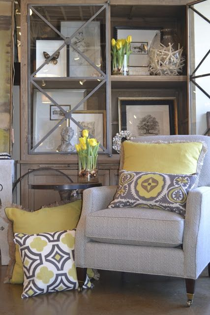new client...Gray with pillows very updated colors. Enjoy the hutch display/design