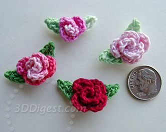 The directions for making these crochet roses and leaves is on this site. Click image to take you there.