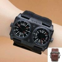 Jam Tangan Pria Diesel Owl Double Time Leather Black