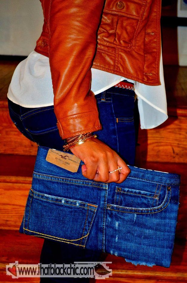 DIY Crafts with Old Denim Jeans -DIY Denim Clutch Bag    - Cool Projects and Fashion You Can Make With Old Jeans - Fun Crafts for Teens and Adults, Inexpensive Ones!