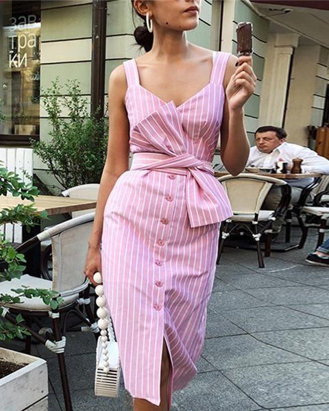 Stripe Button Slim Front Split Dress