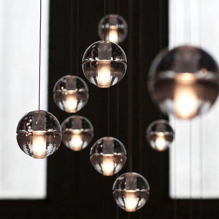 Bocci led crystal glass ball pendant lamp meteor rain ceiling light meteoric shower stair bar droplight