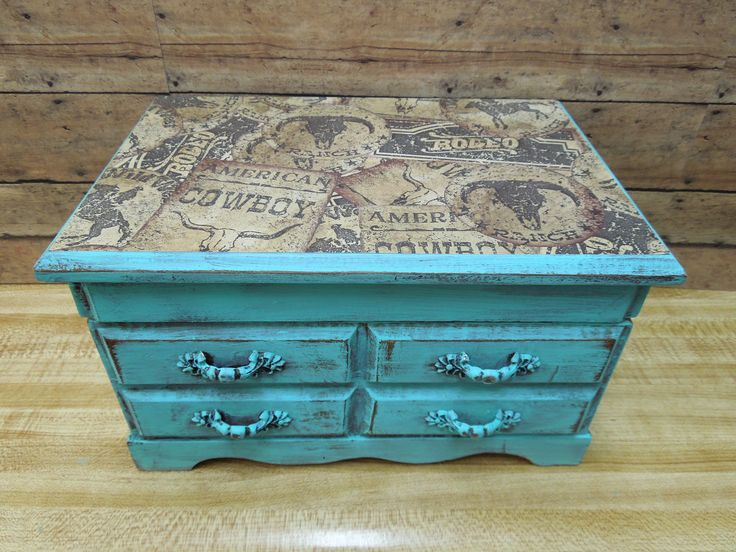 Turquoise Wooden Distressed Jewelry Box