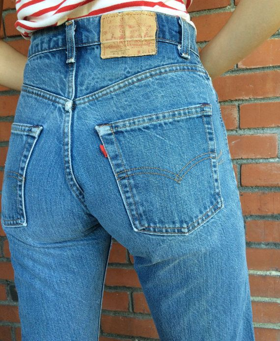 70s LEVIS 505 Jeans 28 Waist High Waist Mom Jeans by HuntedFinds