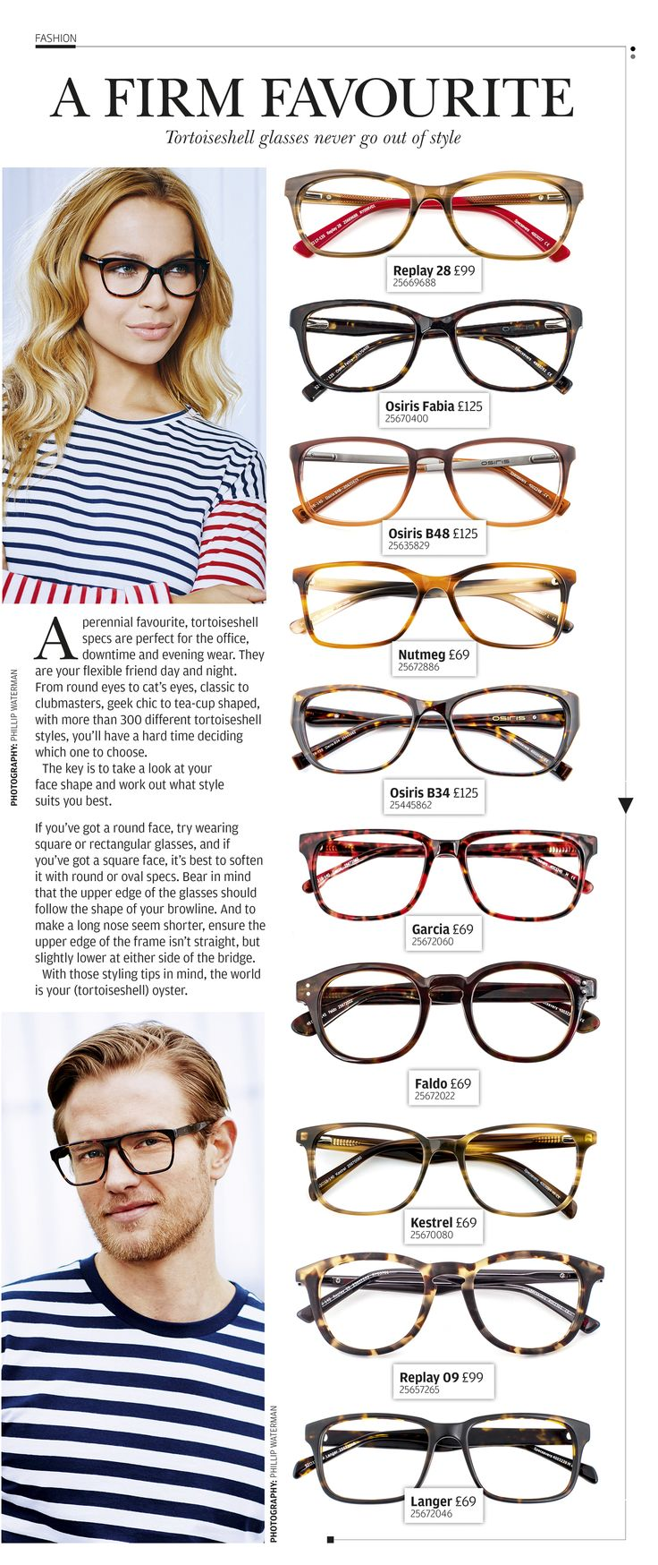 A perennial favourite, tortoiseshell specs are perfect for the office, downtime and evening wear.