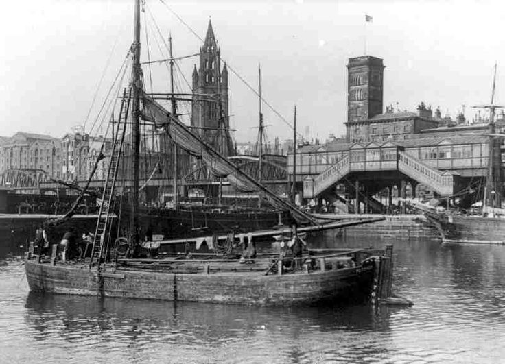 Mersey Flat Barge at George Dock, Liverpool, 1890. From Characters and Street - The Yorkshire Waterways Museum - Yorkshires Best Kept Secret!
