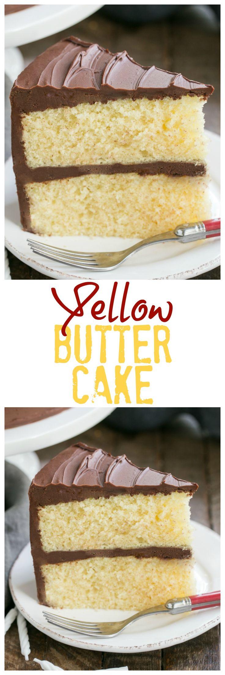 Classic Yellow Butter Cake with Chocolate Icing   Perfect cake for any celebration! #yellowcake #birthdaycake