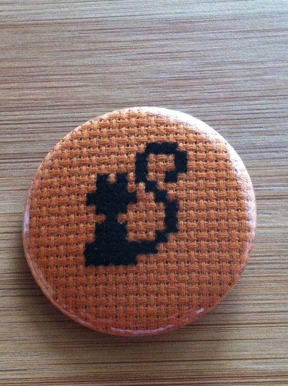 Black Cat Halloween Cross Stitch Button Badge by GeekyButtonGuy, $12.00 on Etsy