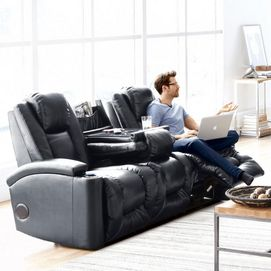 Tune into comfort with the 'Matrix' audio equipped power recline sofa. This sofa helps you plug in to a great audio experience. It features BLUETOOTH® connectivity which allows you to stream music directly from your enabled devices and plug-ins that include USB port and outlets so you can charge devices while in use. Plus the built-in premium stereo speaker system with powerful subwoofer delivers exceptional sound as you lounge in exceptional comfort.