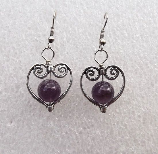 Amethyst earrings  Februarybirthstone by Mammybluebeads on Etsy