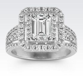 Princess Double Halo Diamond Engagement Ring with Emerald Cut Diamond