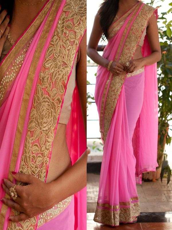 Suave Pink Georgette Designer Saree with White Color Metty Blouse. It Contained the work of Multi & Hand with Lace Border. The Blouse can be customized up to bust size 44