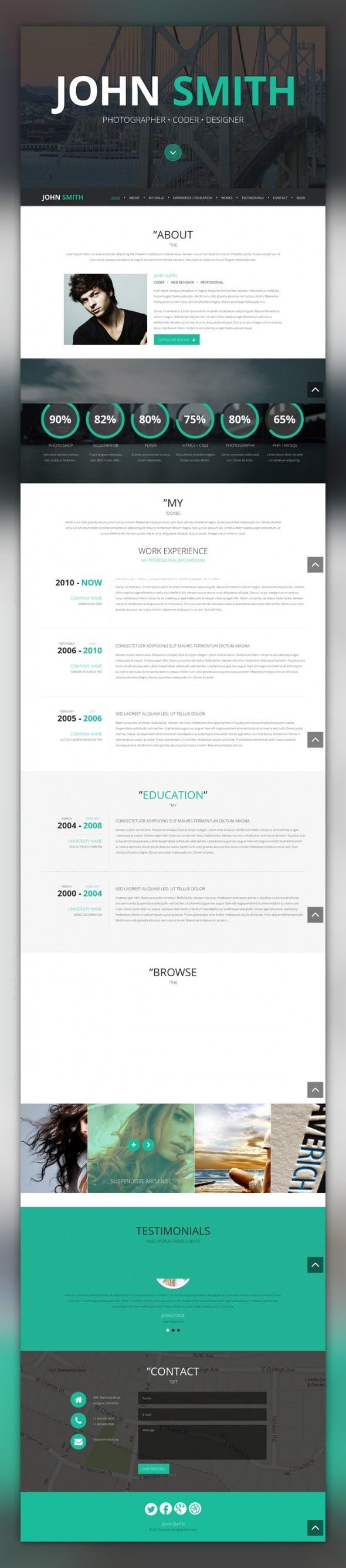 Online CV WordPress Theme CMS & Blog Templates, WordPress Themes, Society & People, Personal Page Templates
