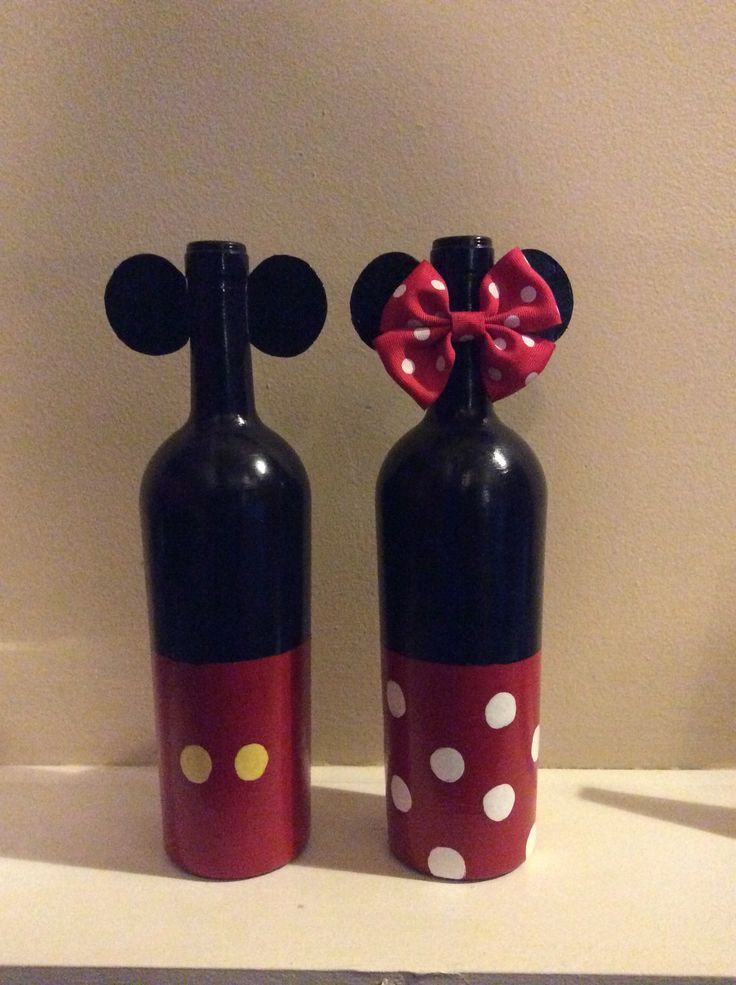 My Painted Mickey And Minnie Mouse Wine Bottles Hand Painted With Acrylic Paint Then Finished With Painted Wine Bottles Bottles Decoration Wine Bottle Crafts