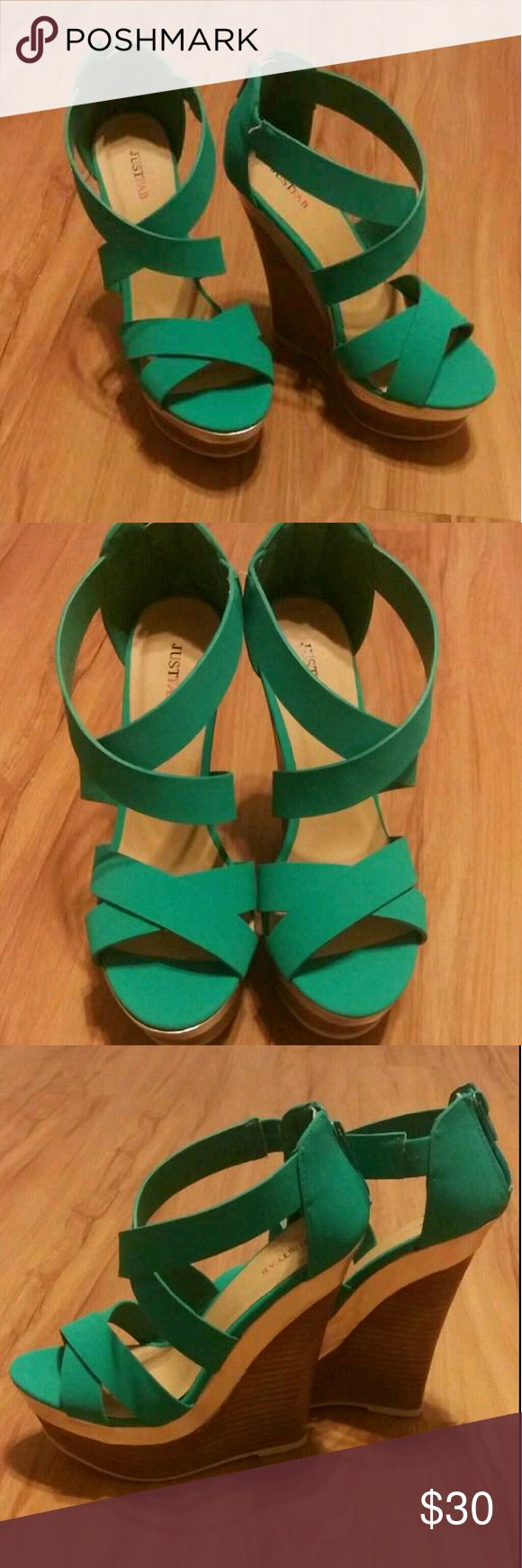 Justfab strappy teal wedges Adorable strappy teal wedges from justfab! Tried on a few times but never actually worn!! They are just to tall for me lol JustFab Shoes Wedges