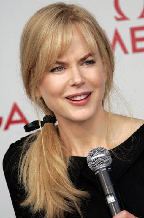 Nicole Kidman Long Hairstyle: Ponytail with Side-swept Bangs