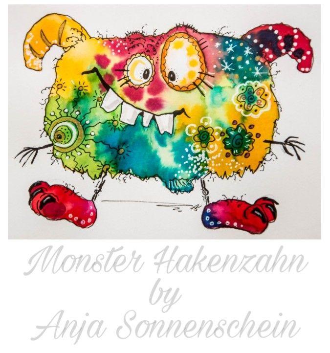 Monster Hakenzahn #colorfulcrazyworld by Anja Sonnenschein  inspiriert von Clarissa Hagenmeyer