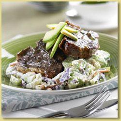 Avocado Coleslaw with Mint Lamb Chops; A delicious Avo Coleslaw recipe idea.